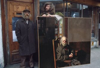 Dioegenes and Lenkiewicz on the Barbican 1979