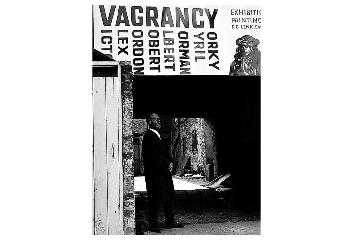Ernest Fisher (Bishop) near 'Jacob's Ladder', venue for the Vagrancy exhibition, 1973.
