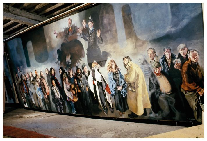 View of the canvas 'The Apotheosis of Mr Ernest Fisher', 1973.