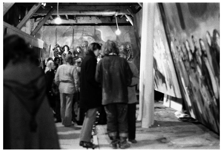 Lenkiewicz at the Vagrancy exhibition opening night, 1973.