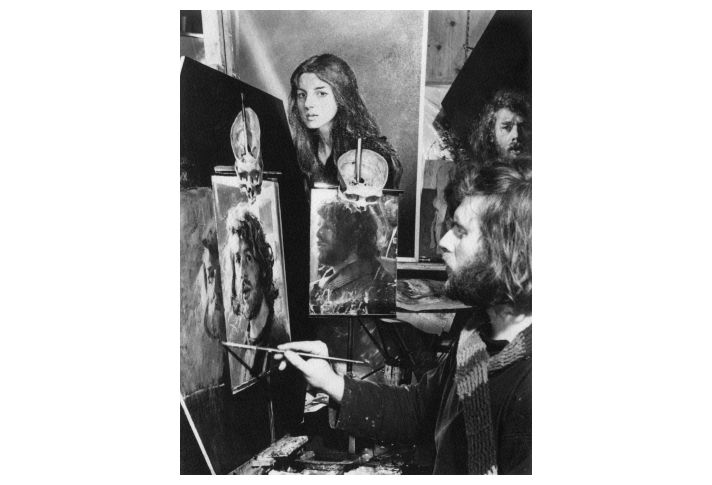 Lenkiewicz at work on 'Self-Portrait with Lover', 1976.