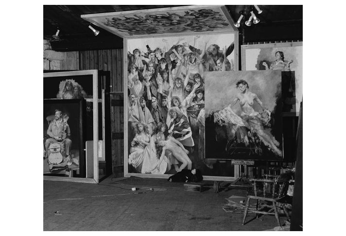 'The Deposition' in the studio showing the upper panel. (Photo: Dominic Burd, 1991)