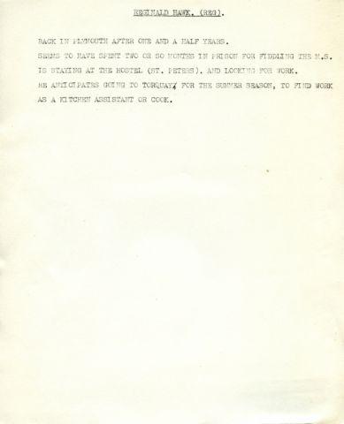 REGINALD HAWK. (REG). 257 x 205 mm