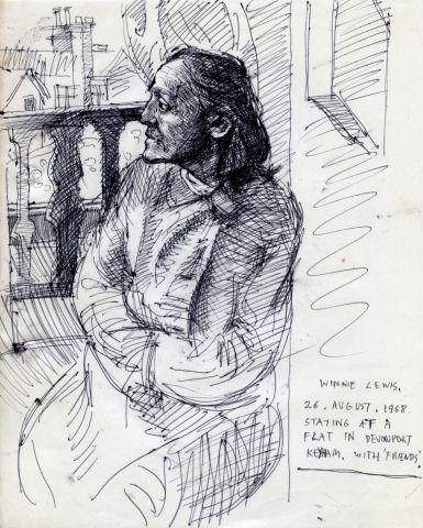 WINNIE LEWIS. 26 AUG 1968 255 x 205 mm. pen on paper