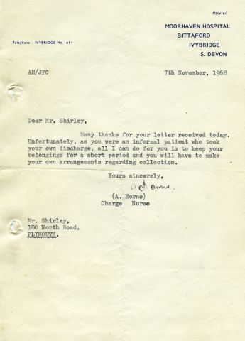 7th November, 1968 210 x 150 mm letter (Moorhaven Hospital)