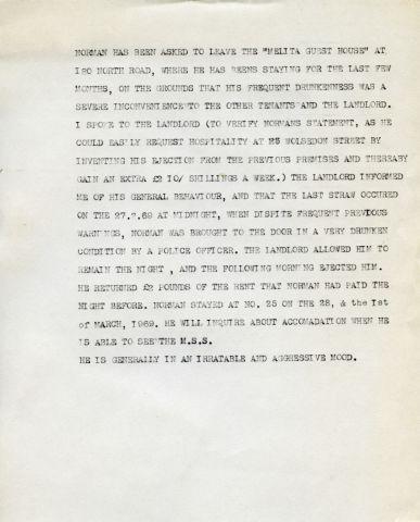 NORMAN SHIRLEY.  257 x 205 mm typed sheet