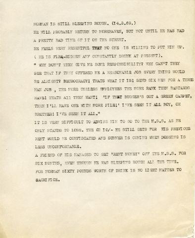 NORMAN SHIRLEY. 14.3.69  257 x 205 mm typed sheet