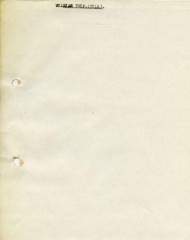 WILLIAM TRIP. (BILL). 255 x 205 mm typed sheet (blank)