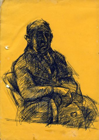item 127 Drawing of ABRAHAM WEINBERG 315 x 210 mm pen on yellow paper
