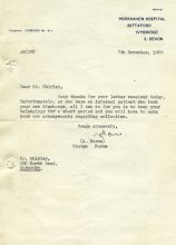 7th November, 1968 210 x 150 mm letter (Moorhaven Hospital)