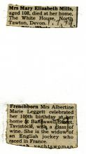 Press clipping mentioning centenarians