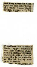 Press clipping mentioning centenarians