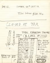 Page from the exhibition records of daily sales